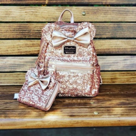 Loungefly Bags   Minnie Rose Gold Backpack Wallet   Poshmark c74b825e4b
